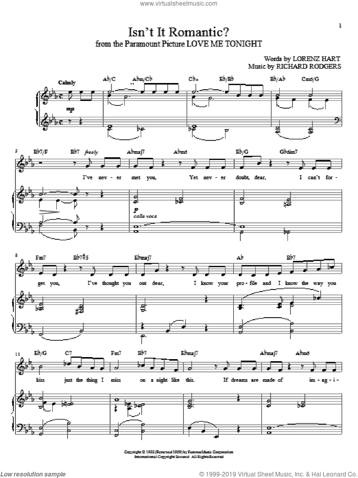 Isn't It Romantic? sheet music for voice and piano by Rodgers & Hart, Lorenz Hart and Richard Rodgers, intermediate skill level