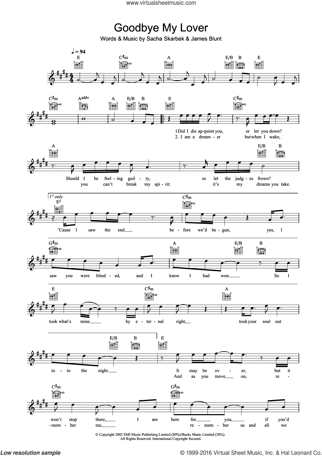 Goodbye My Lover sheet music for voice and other instruments (fake book) by James Blunt and Sacha Skarbek, intermediate skill level
