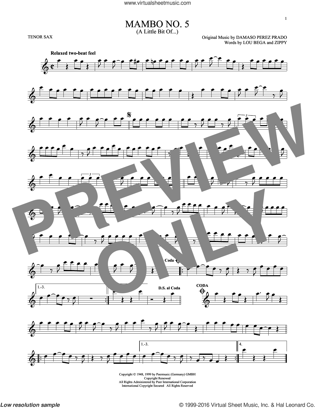 Mambo No. 5 (A Little Bit Of...) sheet music for tenor saxophone solo by Lou Bega and Damaso Perez Prado, intermediate. Score Image Preview.