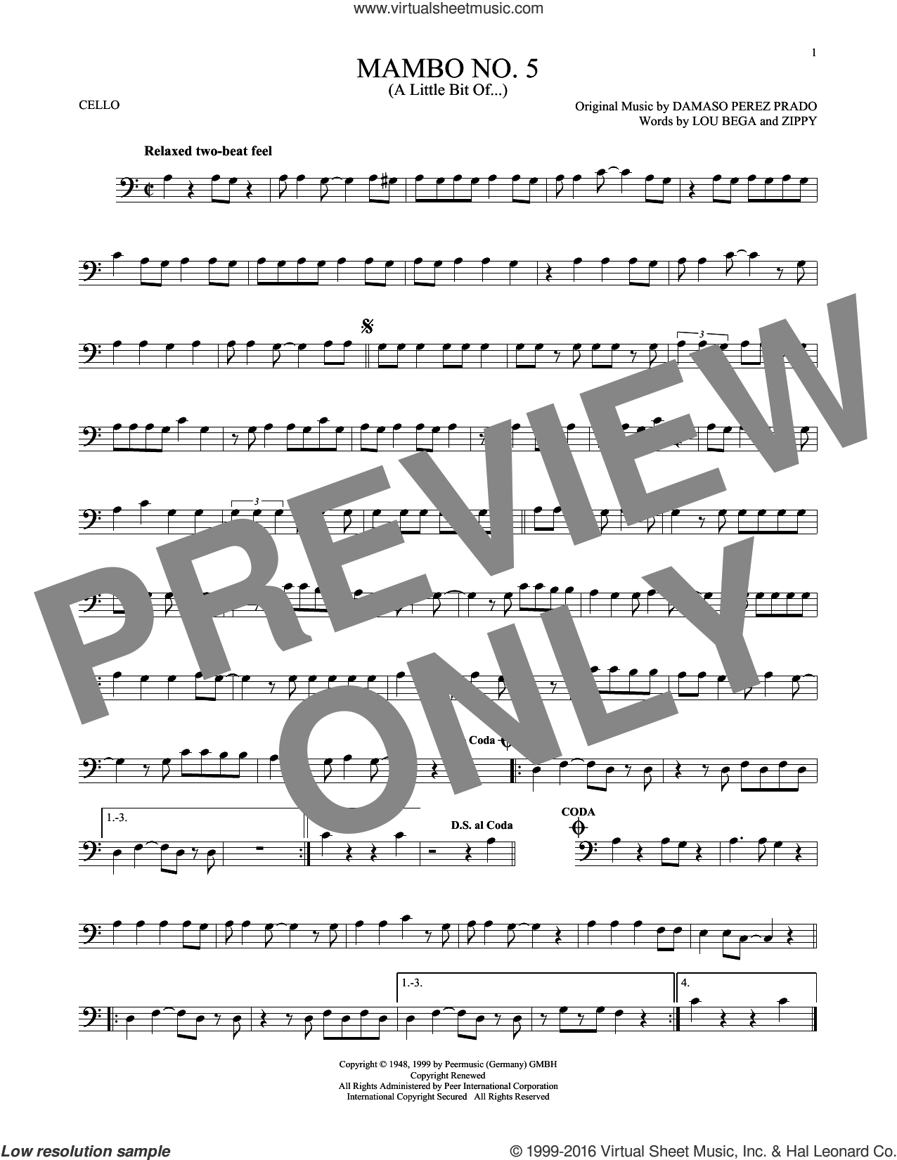 Mambo No. 5 (A Little Bit Of...) sheet music for cello solo by Lou Bega and Damaso Perez Prado, intermediate. Score Image Preview.