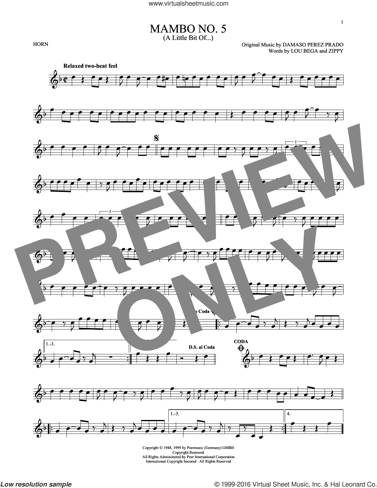 Mambo No. 5 (A Little Bit Of...) sheet music for horn solo by Lou Bega, Damaso Perez Prado and Zippy, intermediate skill level