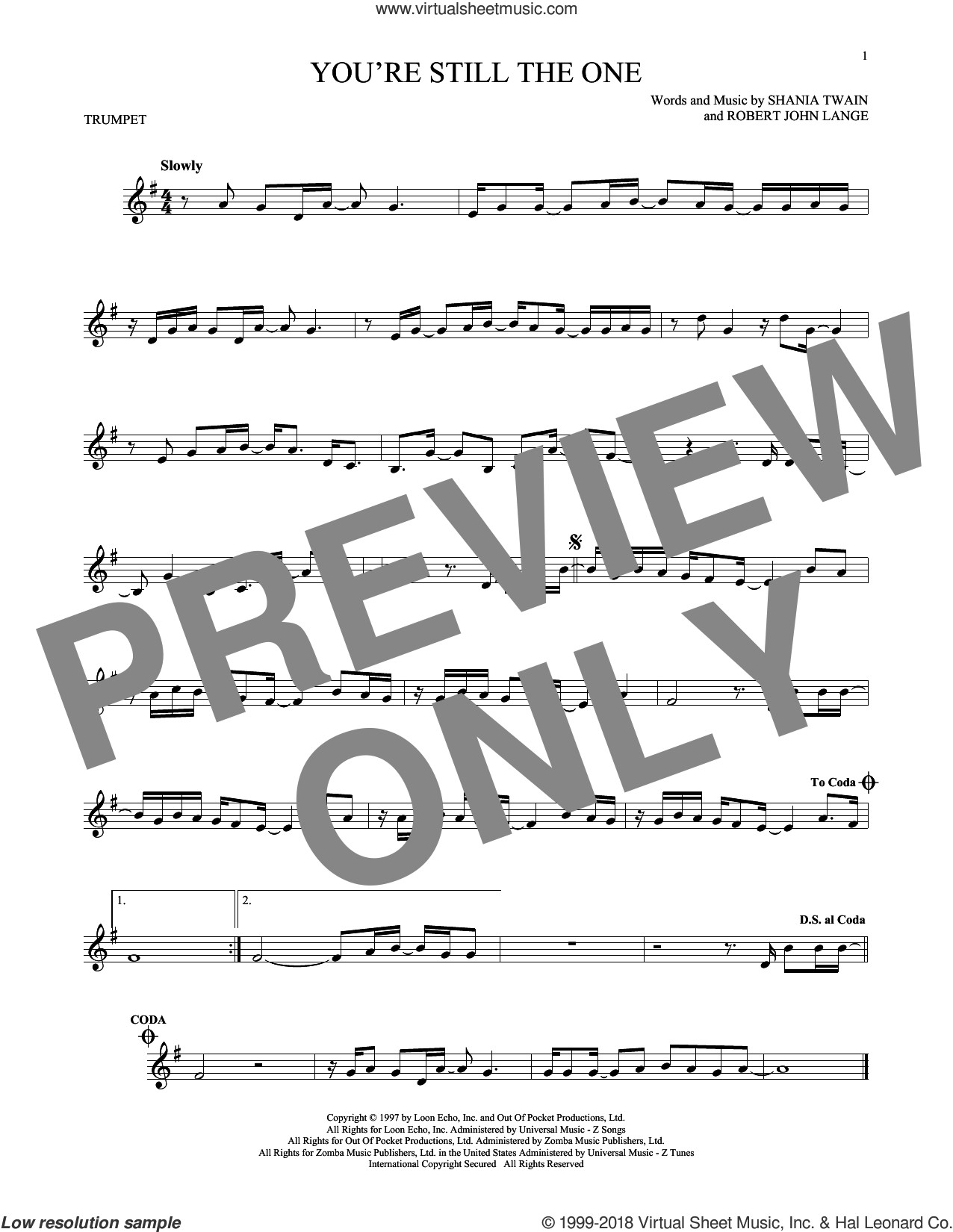 You're Still The One sheet music for trumpet solo by Shania Twain and Robert John Lange, intermediate skill level