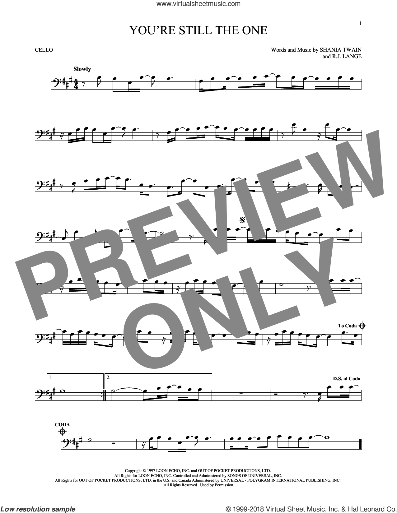 You're Still The One sheet music for cello solo by Shania Twain and Robert John Lange, intermediate skill level