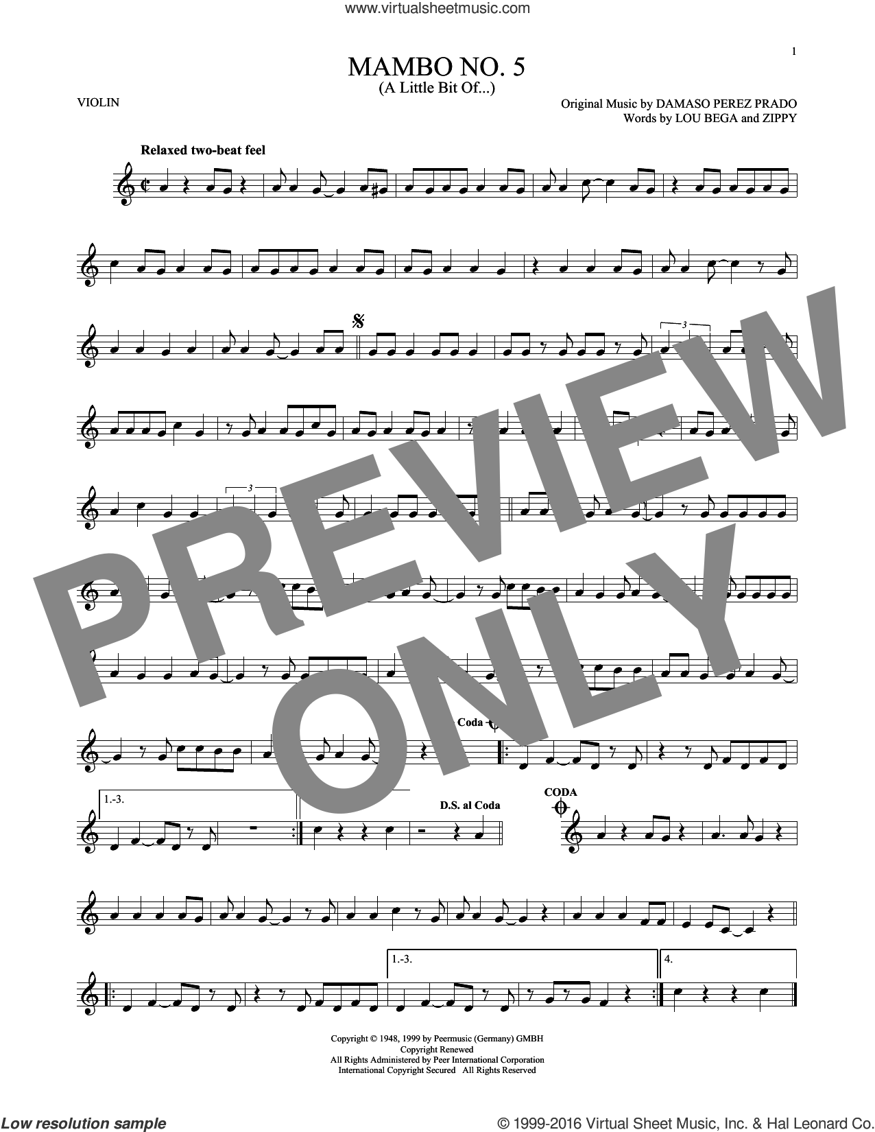 Mambo No. 5 (A Little Bit Of...) sheet music for violin solo by Lou Bega, Damaso Perez Prado and Zippy, intermediate skill level