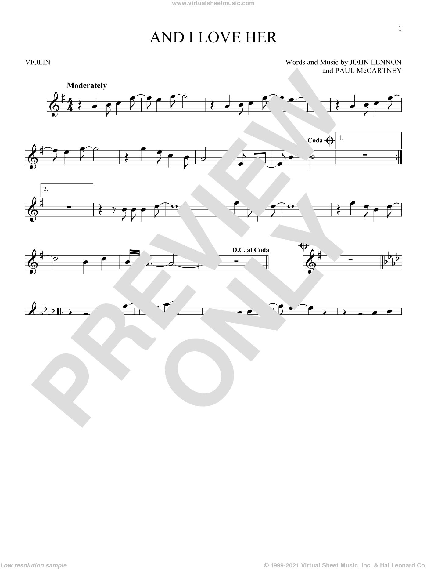 And I Love Her sheet music for violin solo by The Beatles, Esther Phillips, John Lennon and Paul McCartney, intermediate. Score Image Preview.
