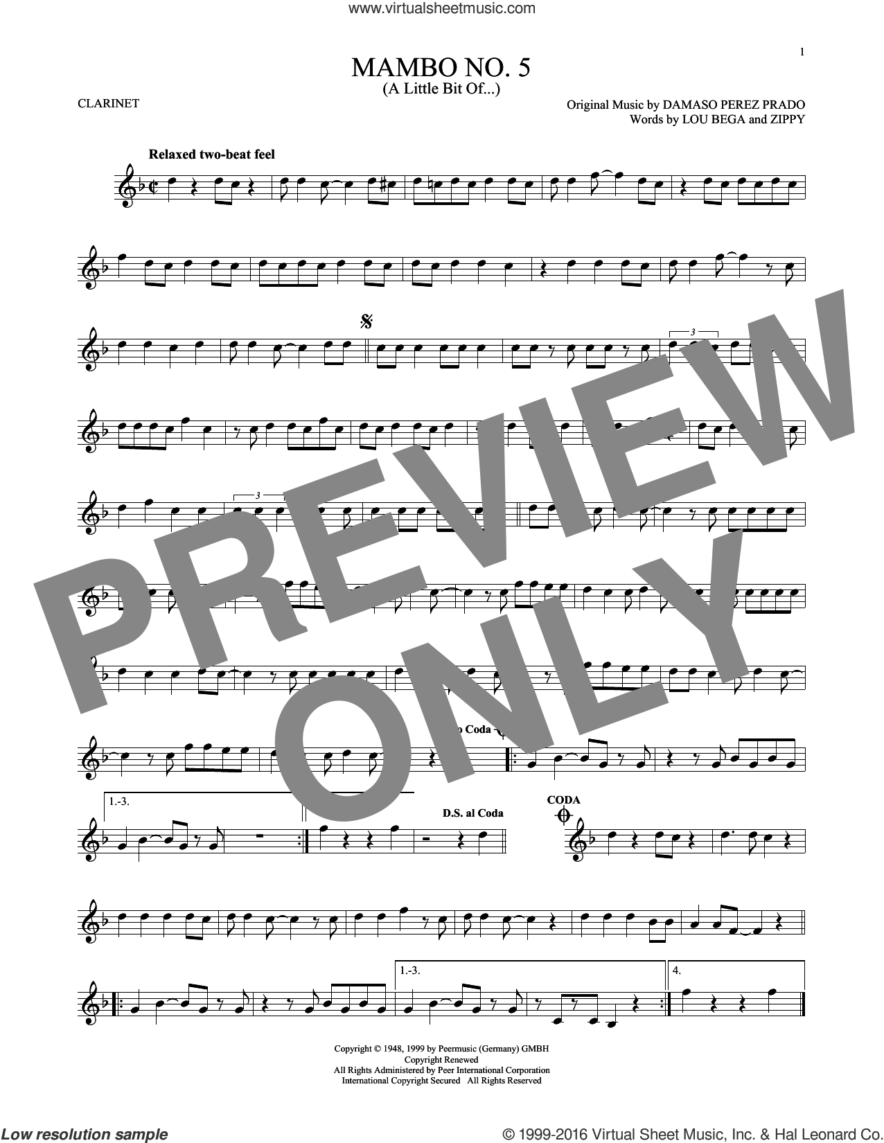 Mambo No. 5 (A Little Bit Of...) sheet music for clarinet solo by Lou Bega and Damaso Perez Prado, intermediate. Score Image Preview.