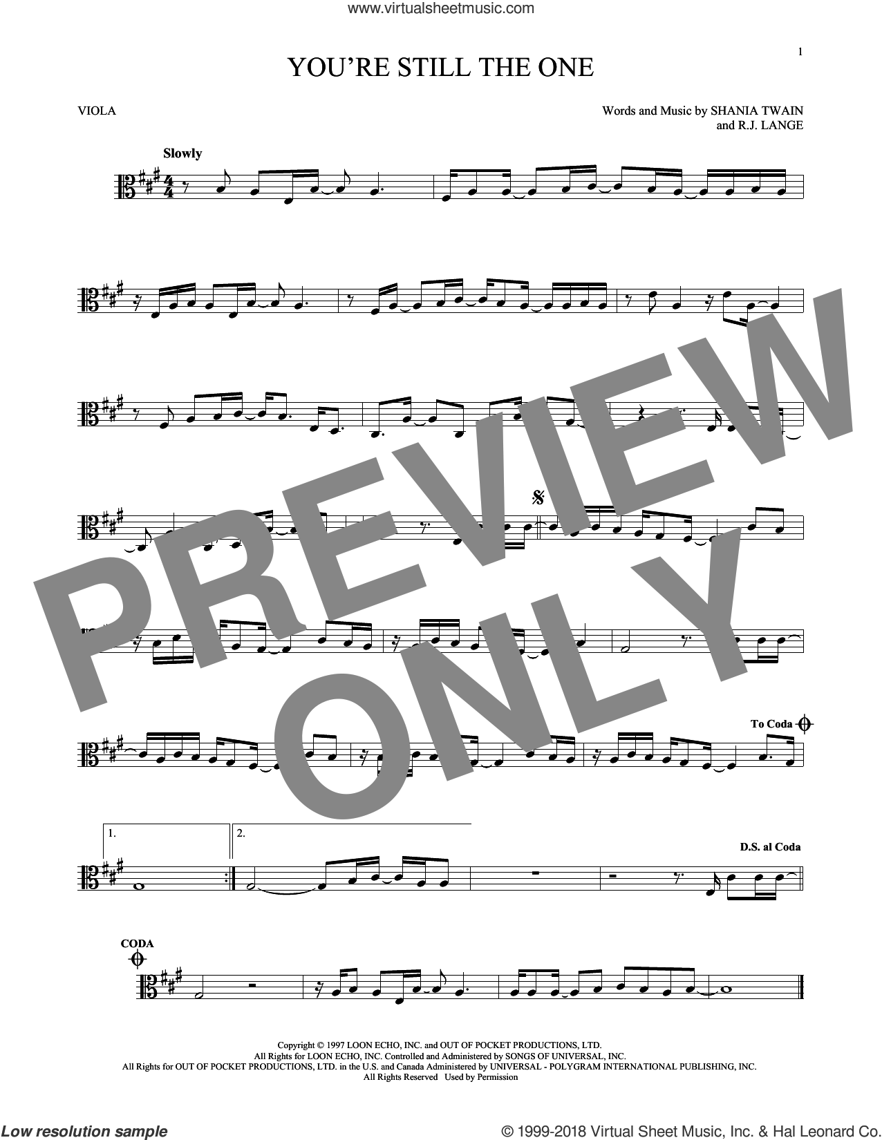 You're Still The One sheet music for viola solo by Shania Twain and Robert John Lange, intermediate viola. Score Image Preview.