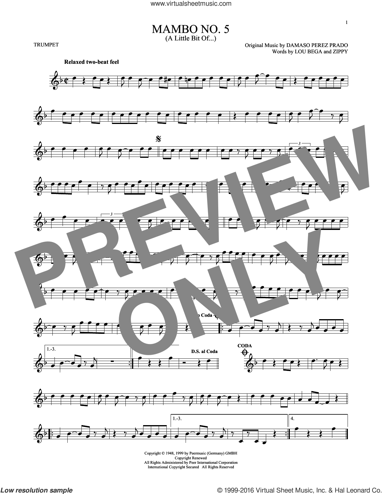 Mambo No. 5 (A Little Bit Of...) sheet music for trumpet solo by Lou Bega, Damaso Perez Prado and Zippy, intermediate skill level