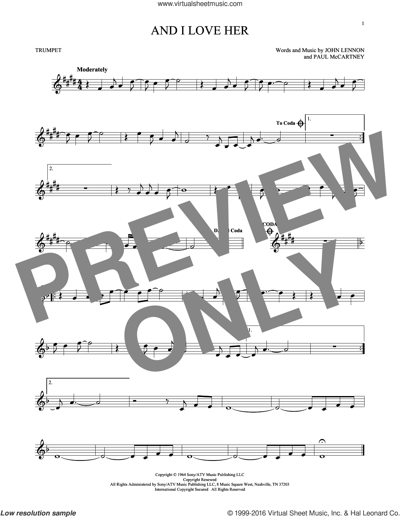 And I Love Her sheet music for trumpet solo by The Beatles, Esther Phillips, John Lennon and Paul McCartney, intermediate skill level