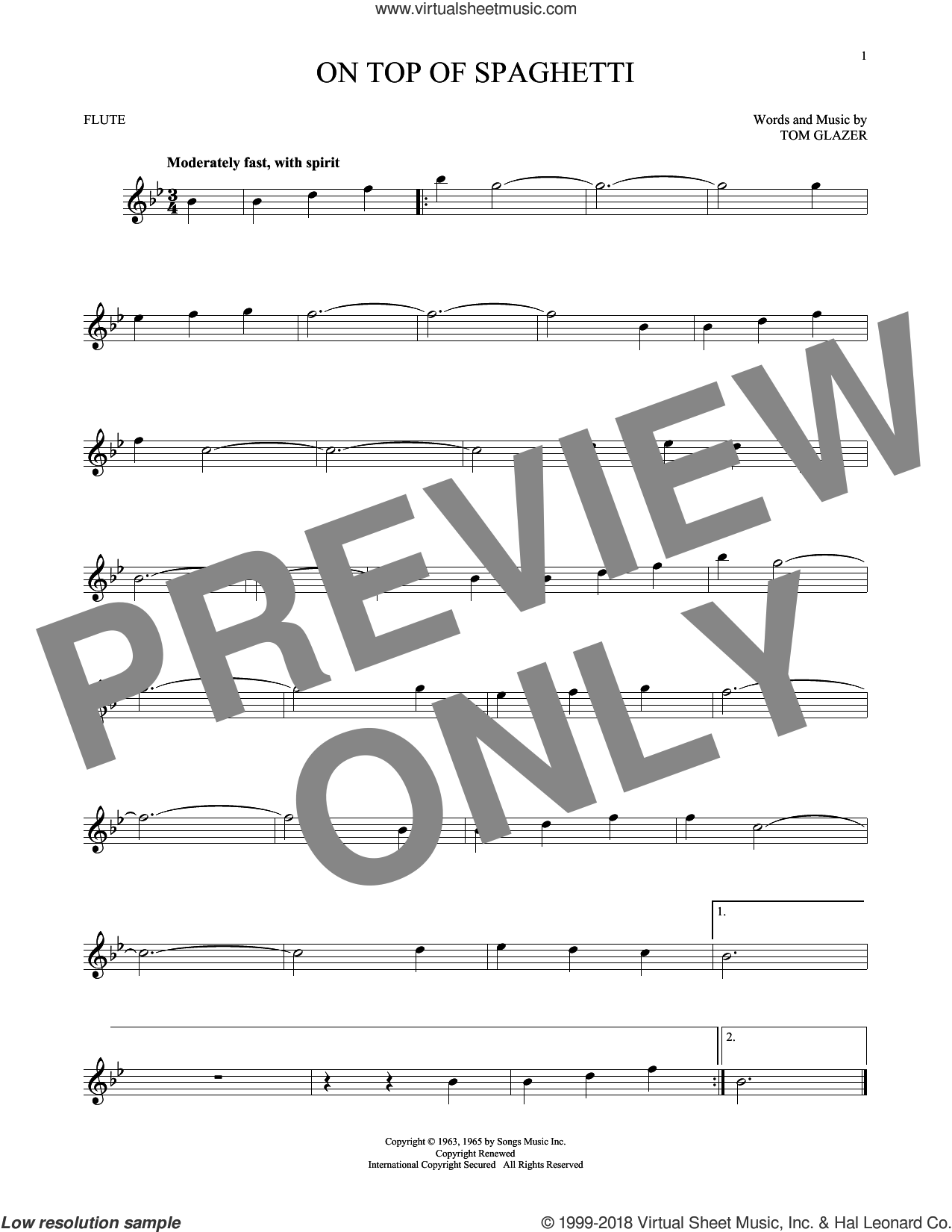 On Top Of Spaghetti sheet music for flute solo by Tom Glazer, intermediate skill level