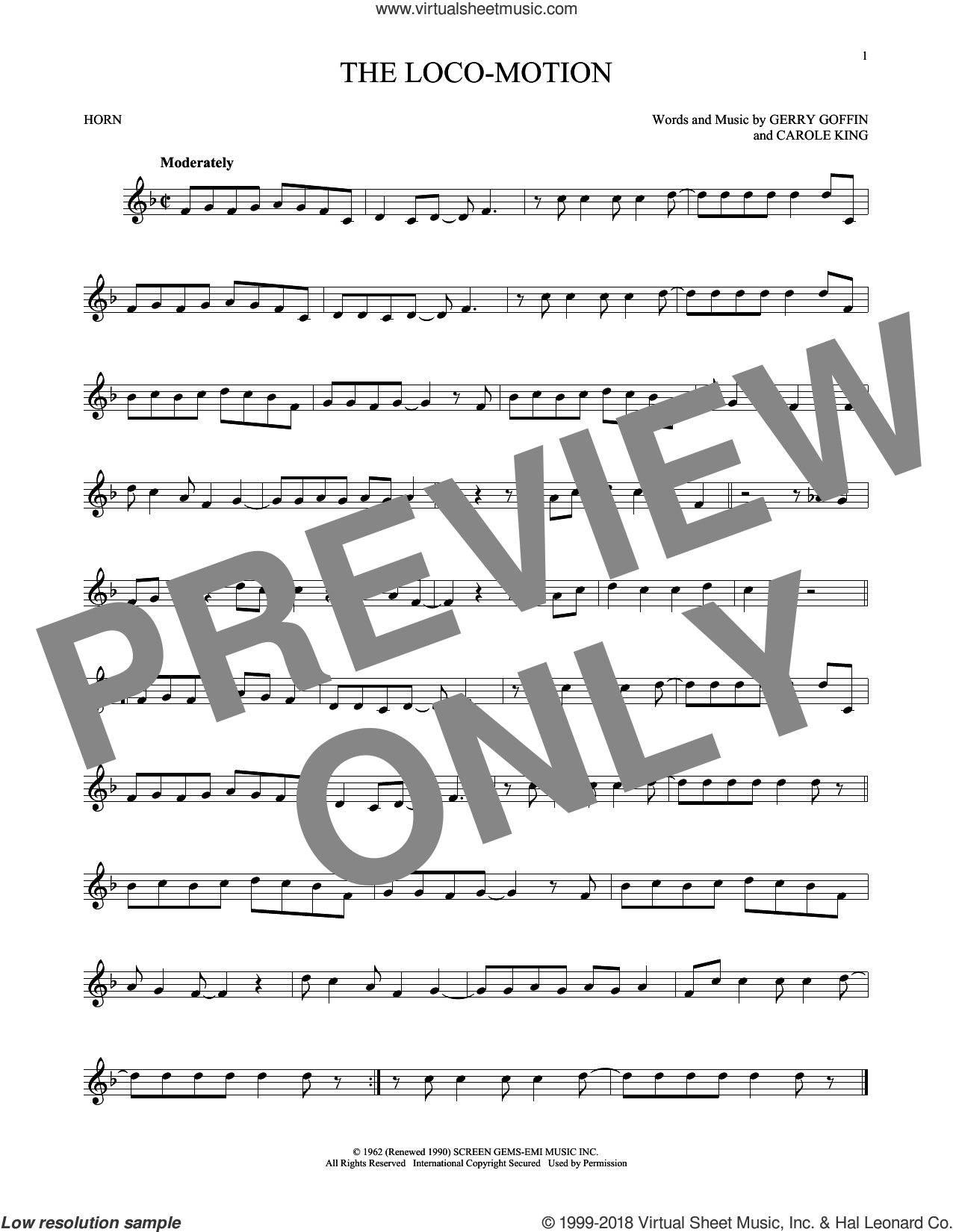 The Loco-Motion sheet music for horn solo by Little Eva, Carole King and Gerry Goffin, intermediate skill level