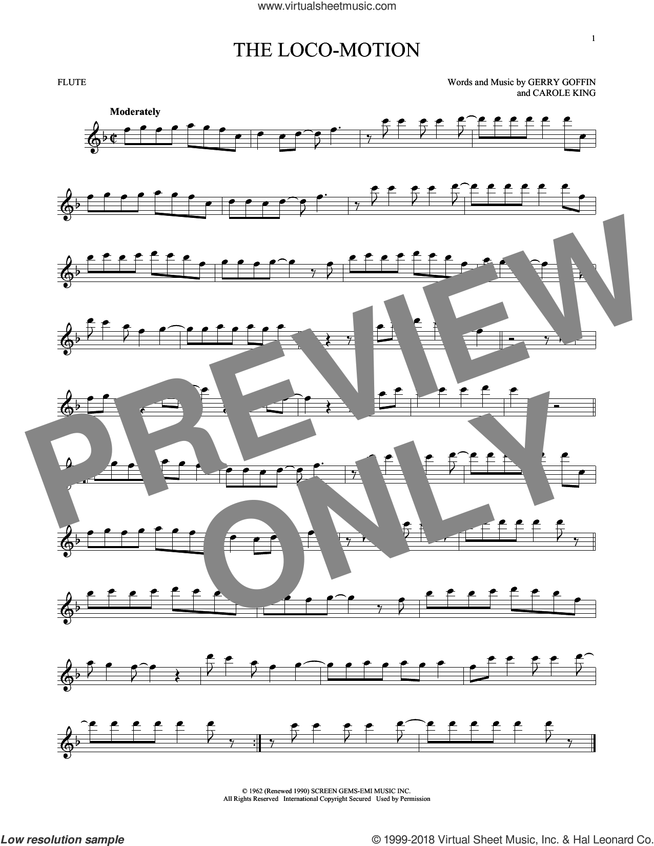 The Loco-Motion sheet music for flute solo by Little Eva, Carole King and Gerry Goffin, intermediate skill level