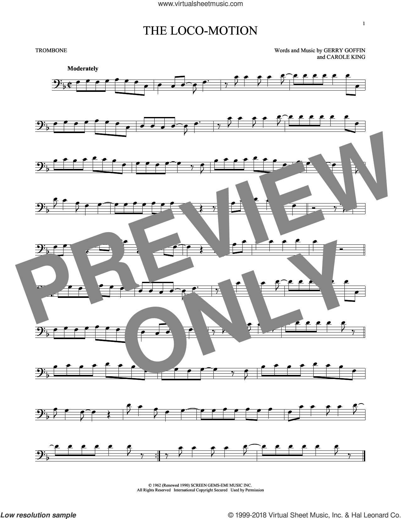 The Loco-Motion sheet music for trombone solo by Little Eva, Carole King and Gerry Goffin. Score Image Preview.
