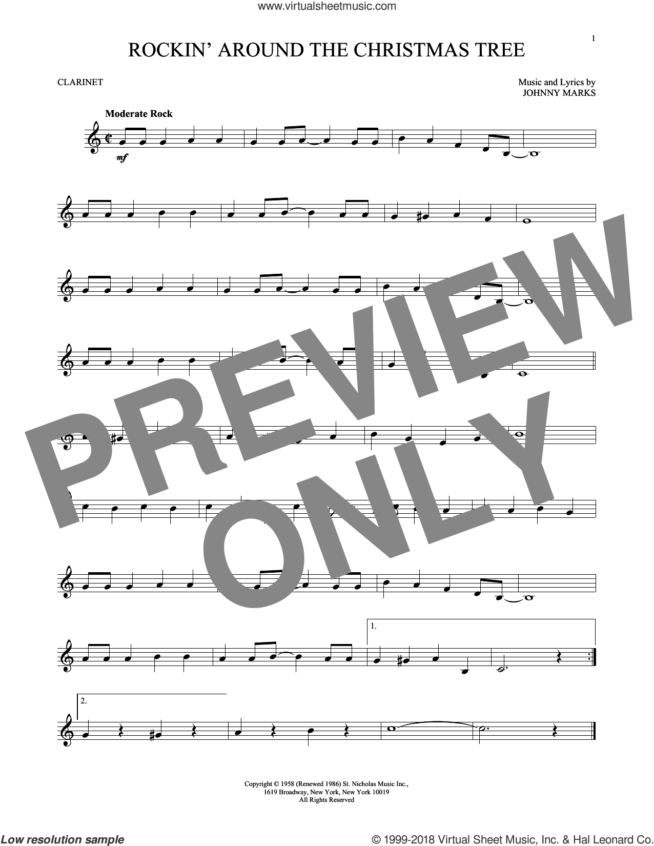 Rockin' Around The Christmas Tree sheet music for clarinet solo by Johnny Marks, intermediate skill level