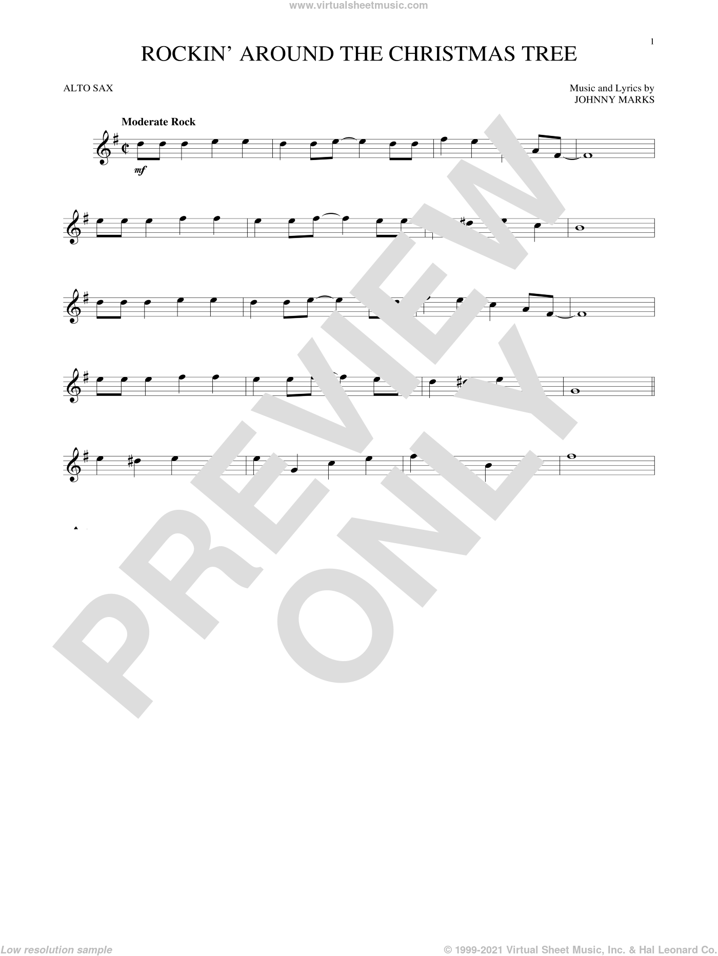Rockin' Around The Christmas Tree sheet music for alto saxophone solo by Johnny Marks, intermediate skill level