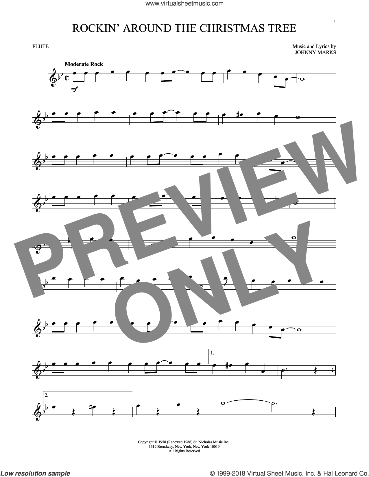 Rockin' Around The Christmas Tree sheet music for flute solo by Johnny Marks, intermediate skill level