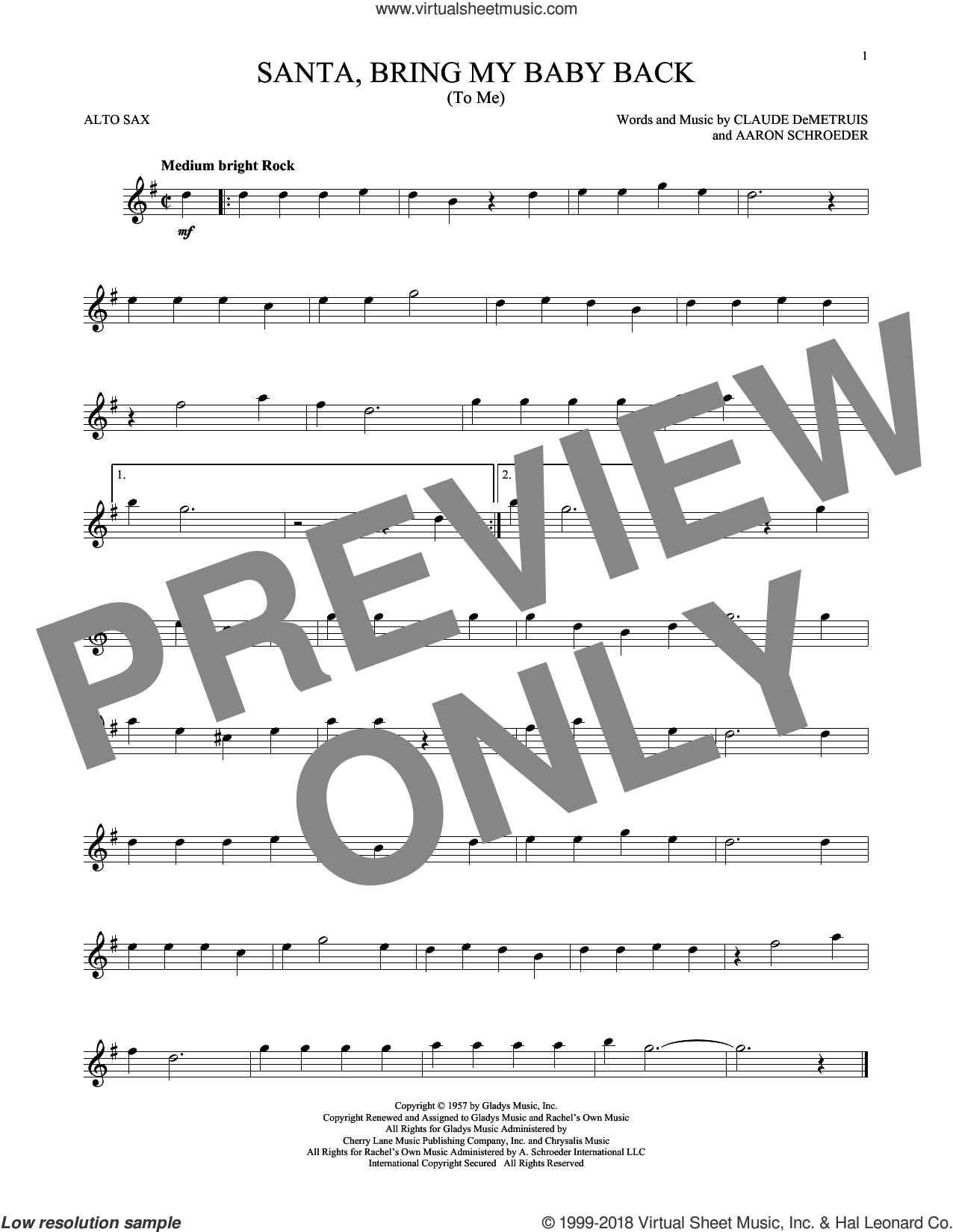Santa, Bring My Baby Back (To Me) sheet music for alto saxophone solo by Elvis Presley, Aaron Schroeder and Claude DeMetruis, intermediate skill level