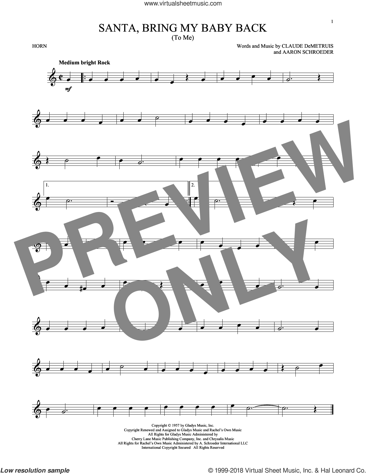 Santa, Bring My Baby Back (To Me) sheet music for horn solo by Elvis Presley, Aaron Schroeder and Claude DeMetruis, intermediate skill level