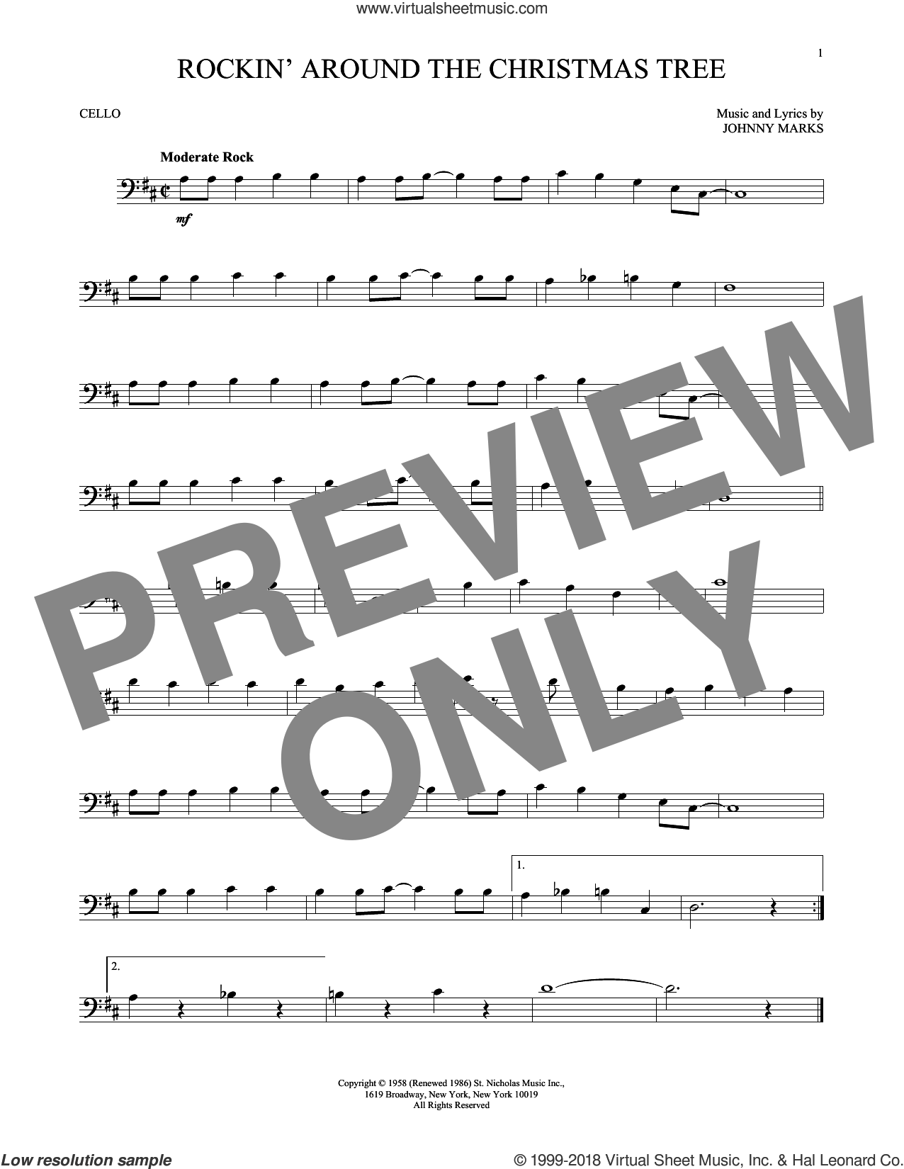 Rockin' Around The Christmas Tree sheet music for cello solo by Johnny Marks, intermediate skill level