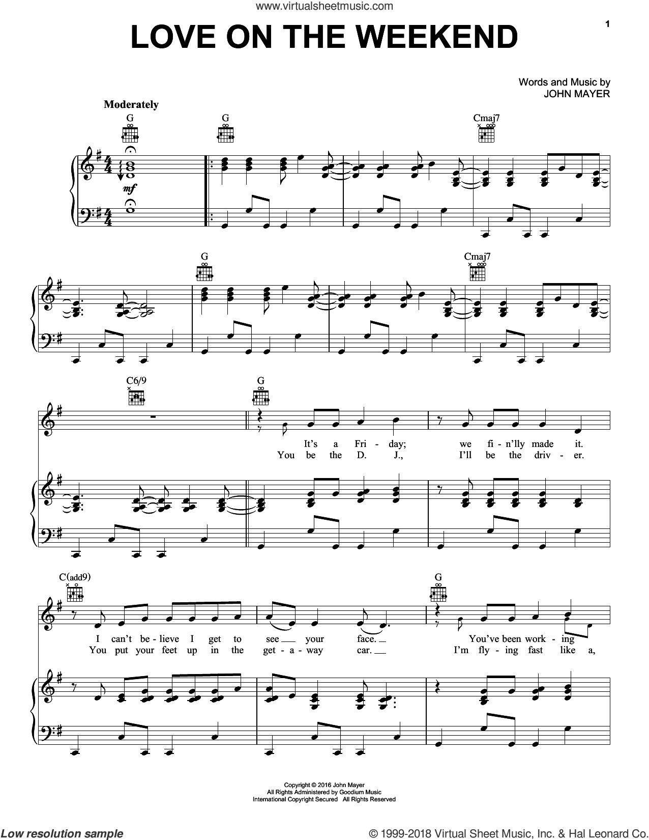Love On The Weekend sheet music for voice, piano or guitar by John Mayer, intermediate. Score Image Preview.