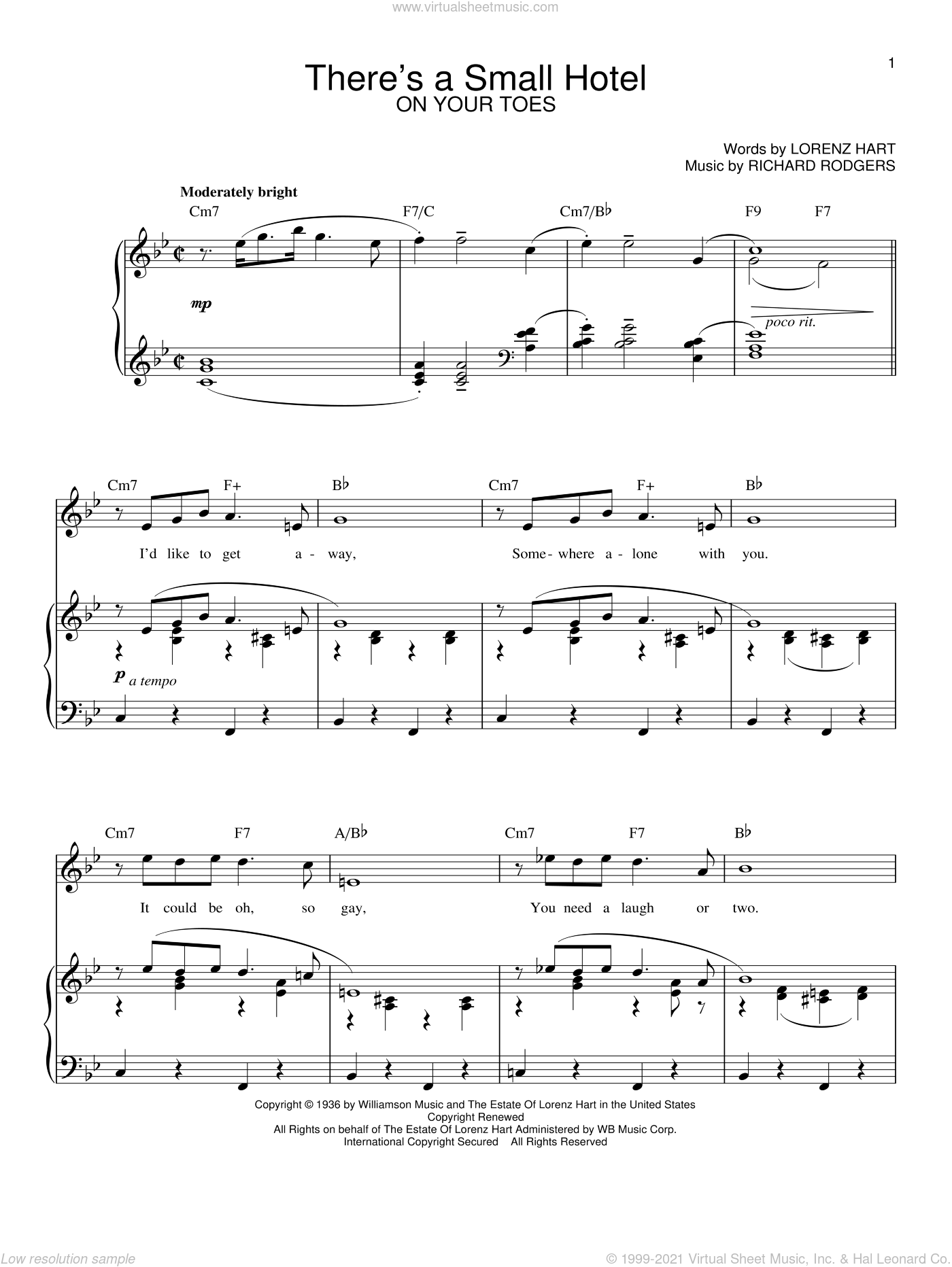 There's A Small Hotel sheet music for voice and piano by Richard Rodgers, Rodgers & Hart and Lorenz Hart. Score Image Preview.
