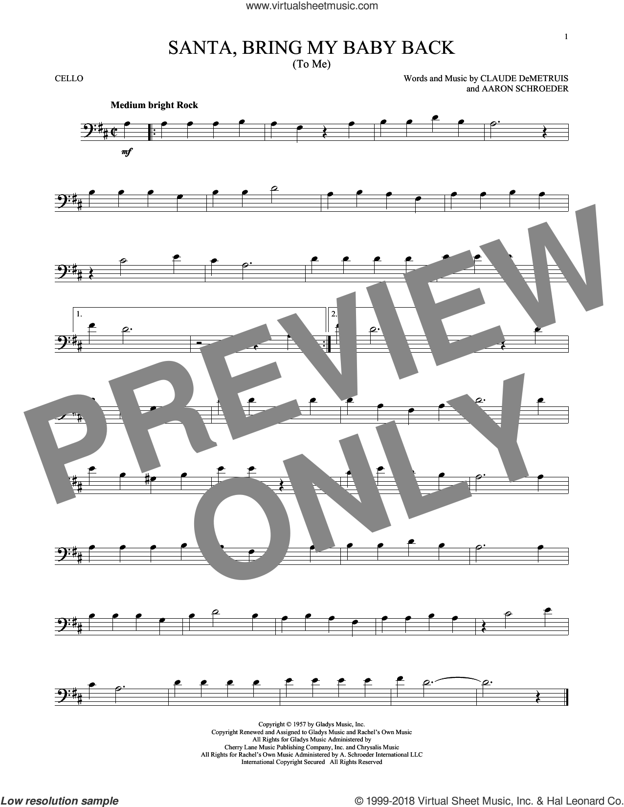 Santa, Bring My Baby Back (To Me) sheet music for cello solo by Elvis Presley, Aaron Schroeder and Claude DeMetruis, intermediate
