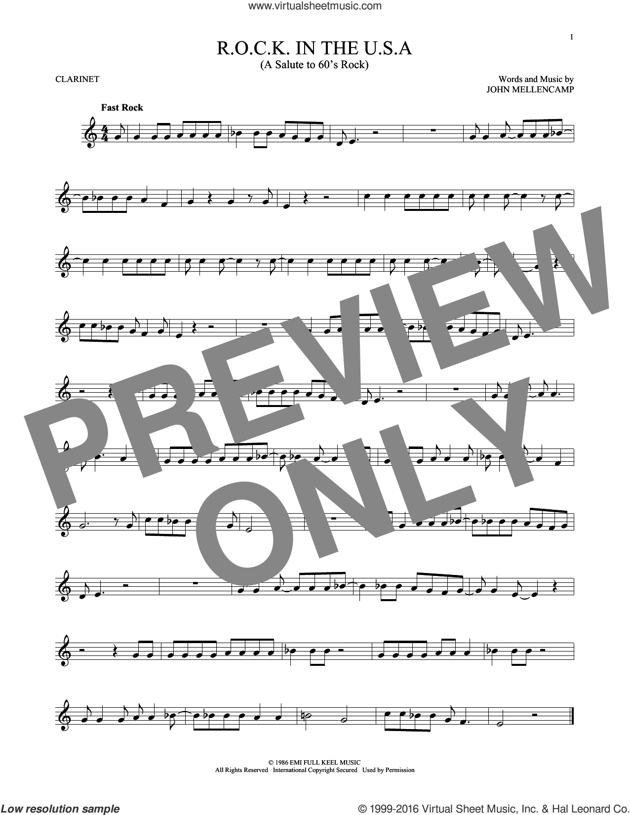 R.O.C.K. In The U.S.A. (A Salute To 60's Rock) sheet music for clarinet solo by John Mellencamp. Score Image Preview.