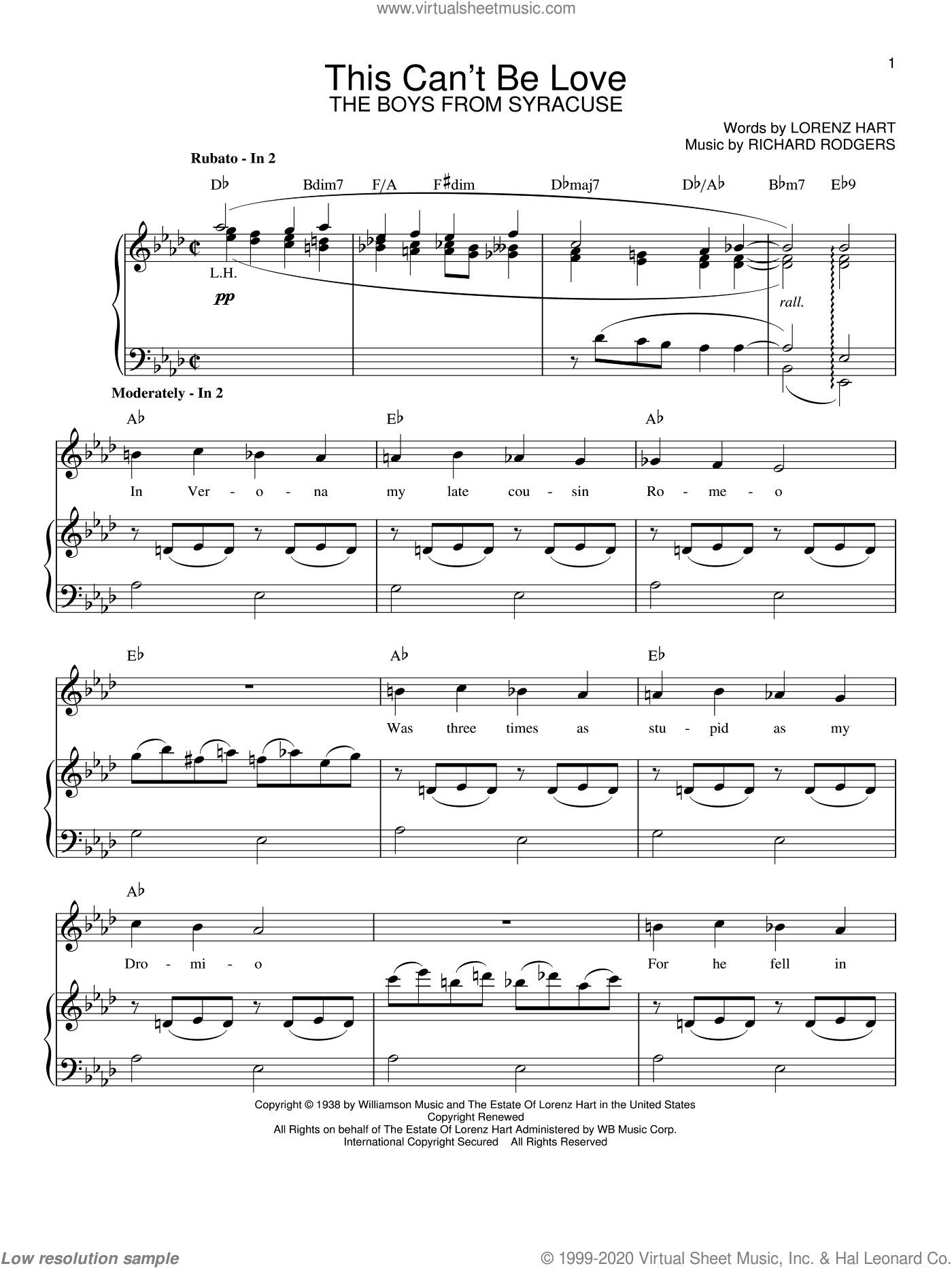 This Can't Be Love sheet music for voice and piano by Rodgers & Hart, Lorenz Hart and Richard Rodgers, intermediate skill level