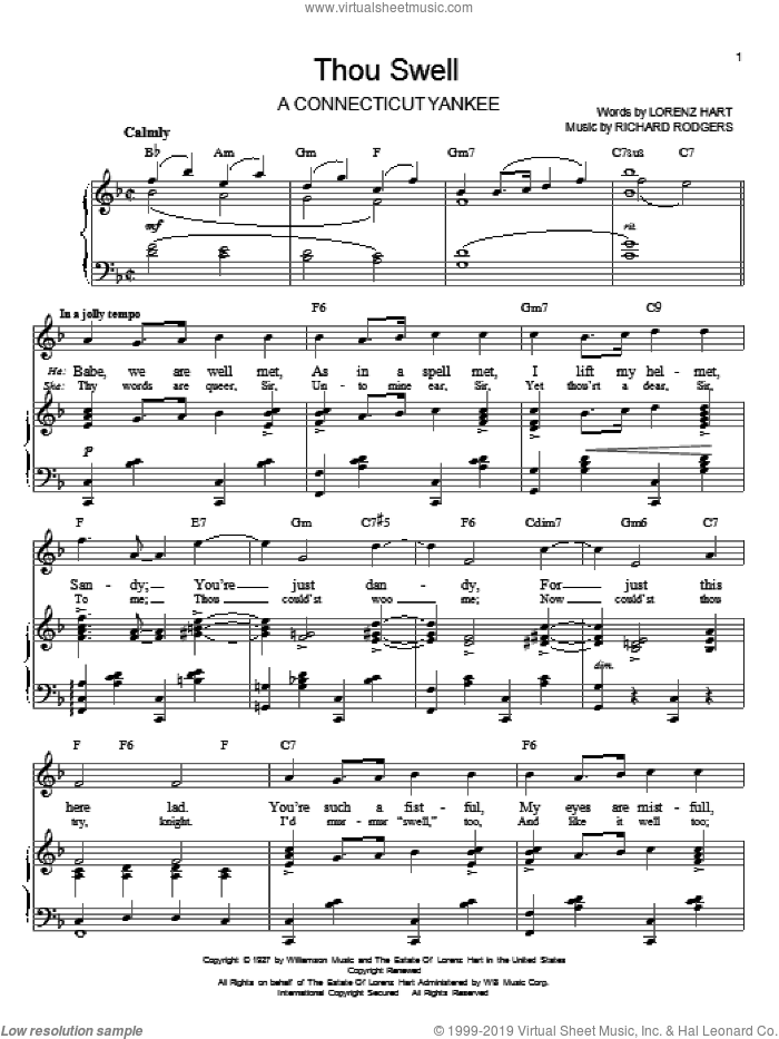 Thou Swell sheet music for voice and piano by Richard Rodgers, Rodgers & Hart and Lorenz Hart. Score Image Preview.