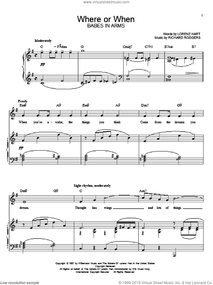 Where Or When sheet music for voice and piano by Rodgers & Hart, Lorenz Hart and Richard Rodgers, intermediate skill level
