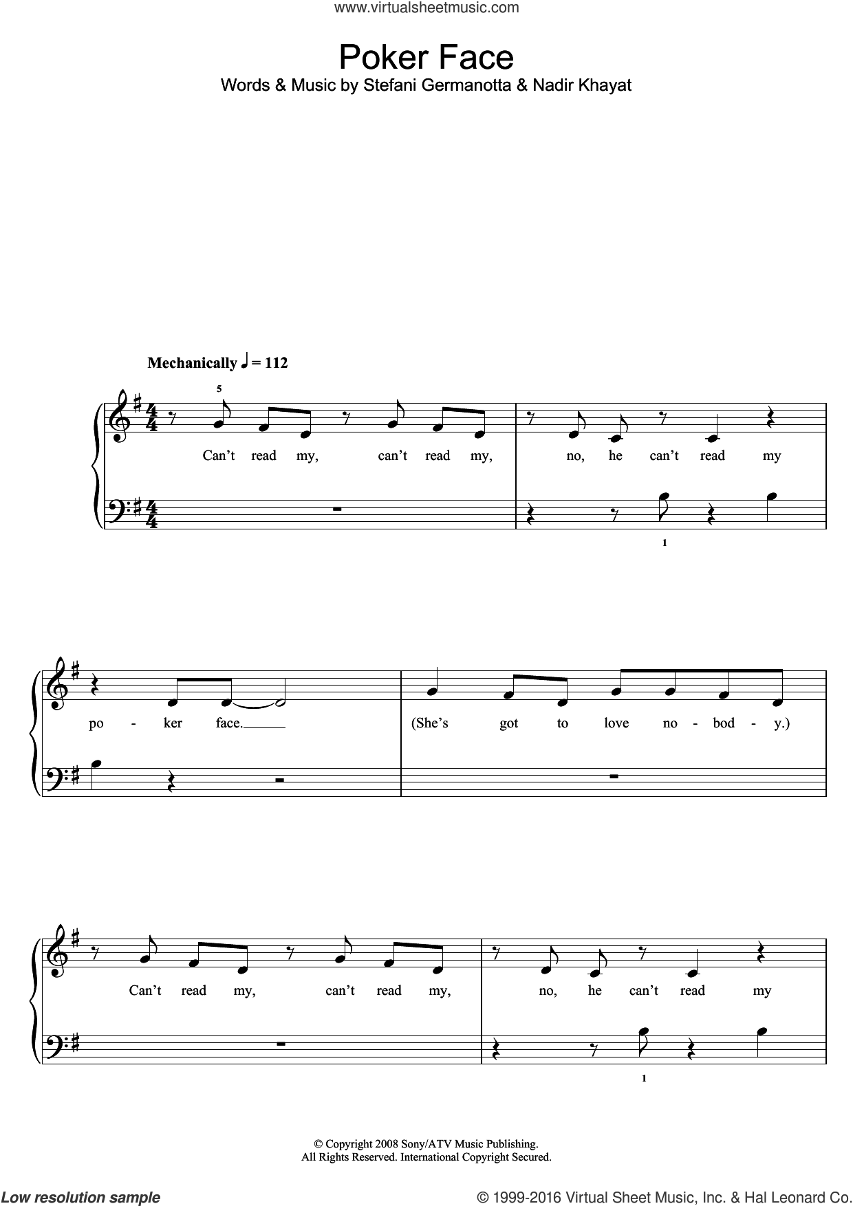 Poker Face sheet music for piano solo (5-fingers) by Glee Cast, Lady Gaga and Nadir Khayat, beginner piano (5-fingers)