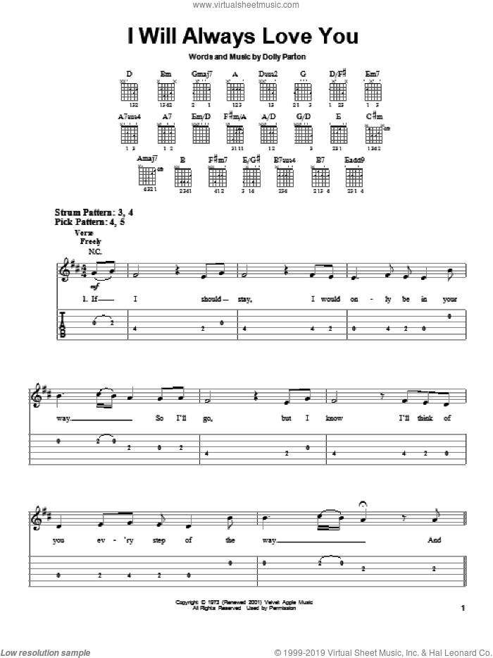 I Will Always Love You sheet music for guitar solo (easy tablature) by Whitney Houston, David Foster and Dolly Parton, easy guitar (easy tablature)