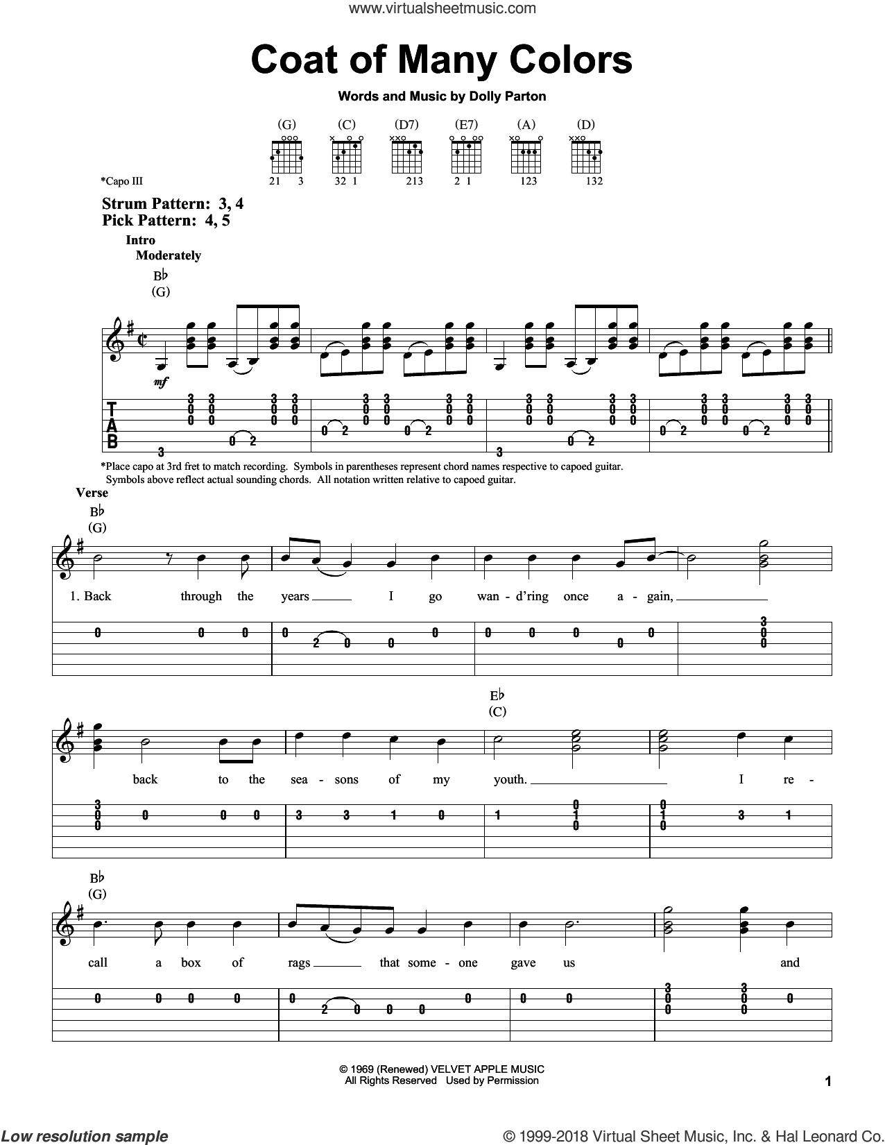 Coat Of Many Colors sheet music for guitar solo (easy tablature) by Dolly Parton, easy guitar (easy tablature)