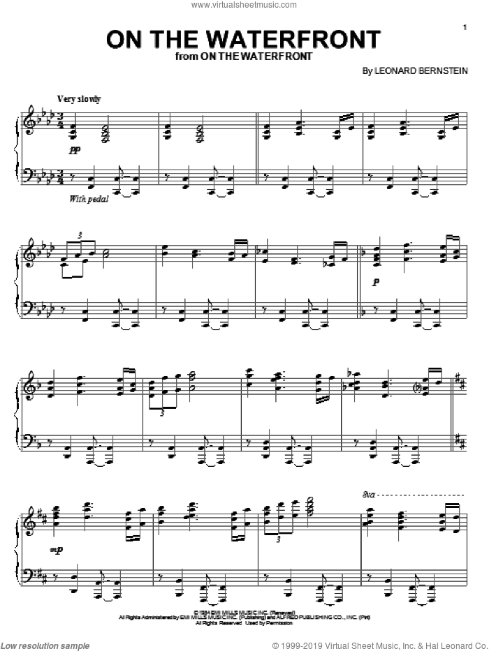 On The Waterfront sheet music for piano solo by Leonard Bernstein and John Latouche, intermediate skill level