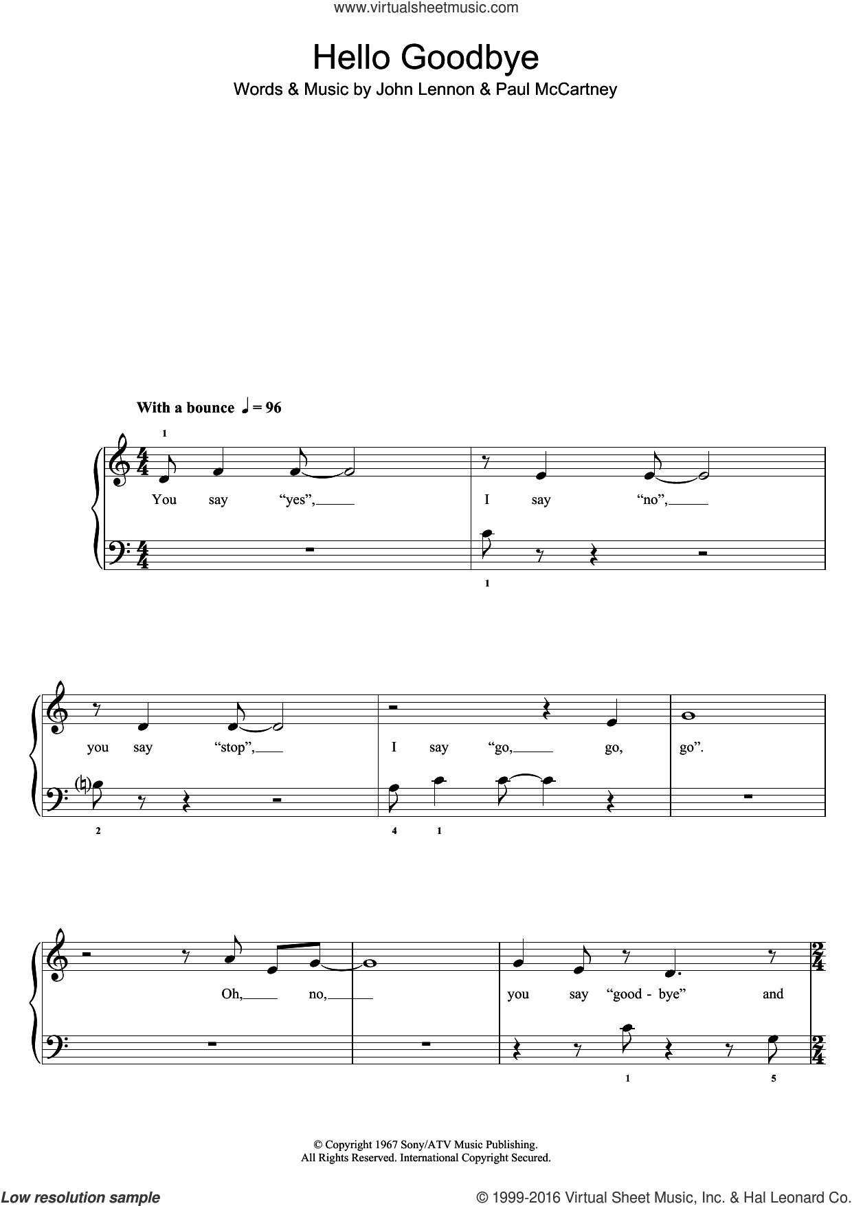 Hello, Goodbye sheet music for piano solo (5-fingers) by Glee Cast, John Lennon and Paul McCartney. Score Image Preview.