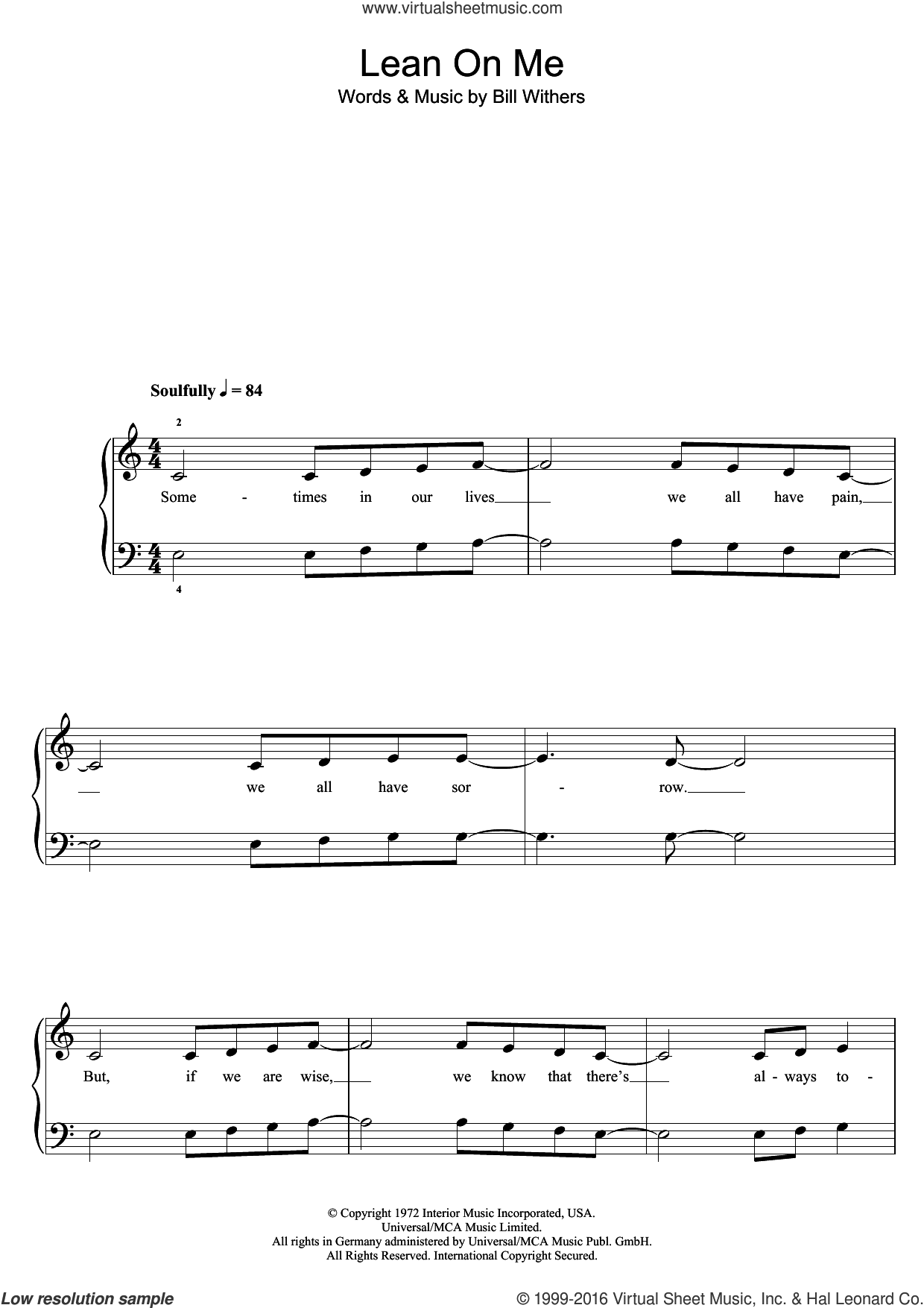 Lean On Me sheet music for piano solo (5-fingers) by Glee Cast and Bill Withers, beginner piano (5-fingers). Score Image Preview.