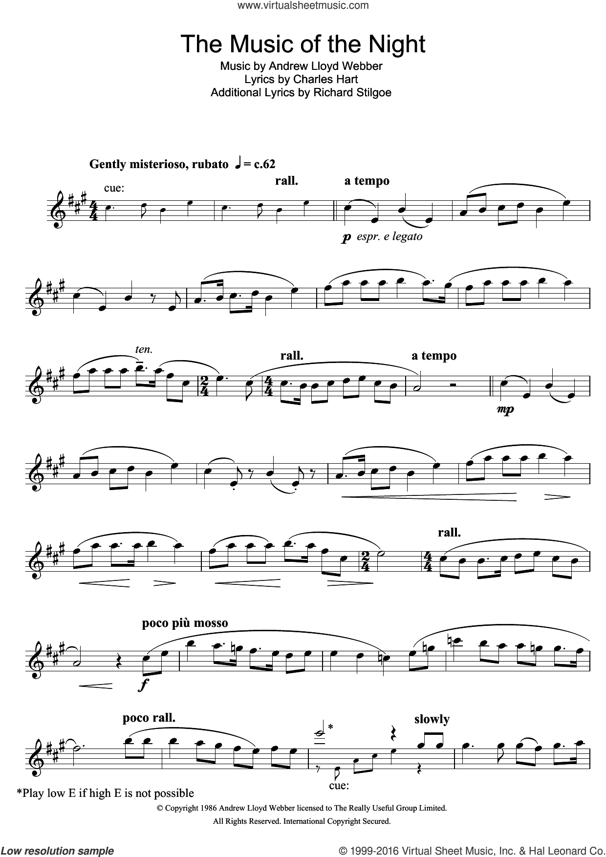 The Music Of The Night (from The Phantom Of The Opera) sheet music for alto saxophone solo by Andrew Lloyd Webber, Charles Hart and Richard Stilgoe, intermediate skill level