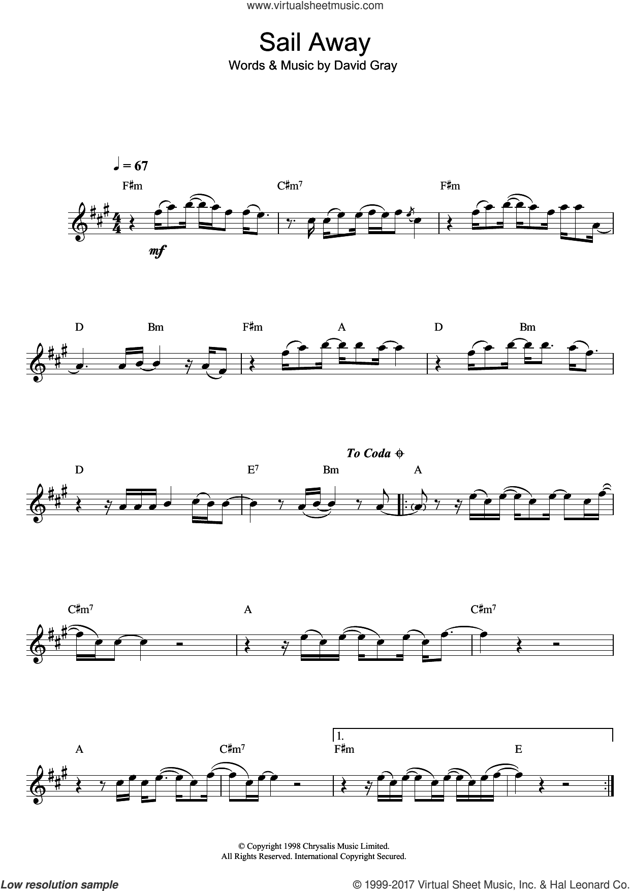 Sail Away sheet music for alto saxophone solo by David Gray, intermediate