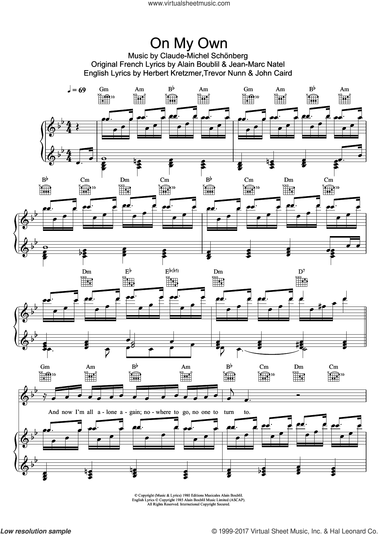 On My Own (from Les Miserables) sheet music for voice and piano by Boublil and Schonberg, Alain Boublil, Claude-Michel Schonberg, Herbert Kretzmer, Jean-Marc Natel, John Caird and Trevor Nunn, intermediate skill level