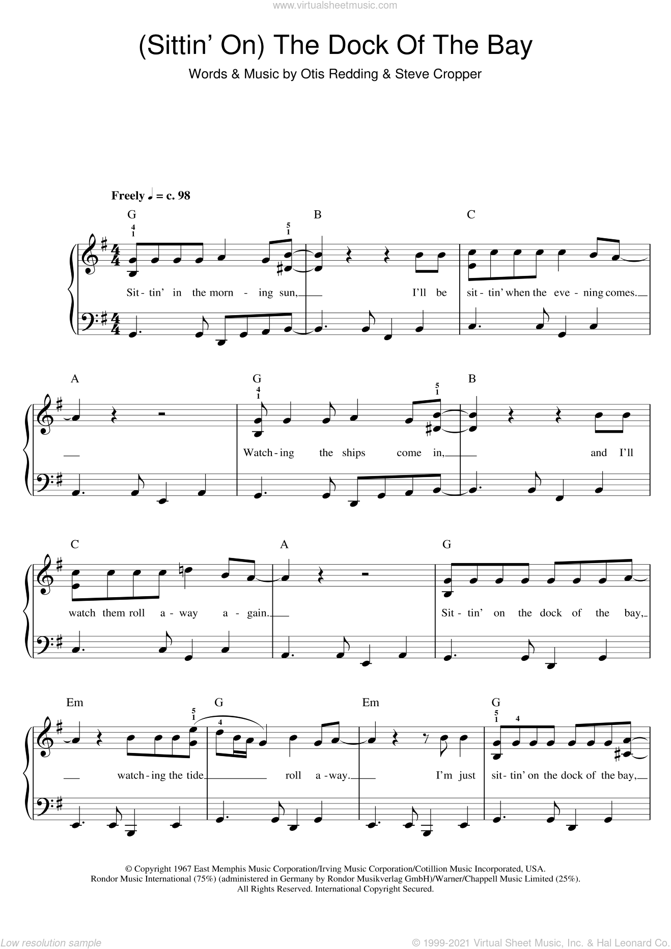 (Sittin' On) The Dock Of The Bay sheet music for piano solo by Otis Redding and Steve Cropper, easy skill level