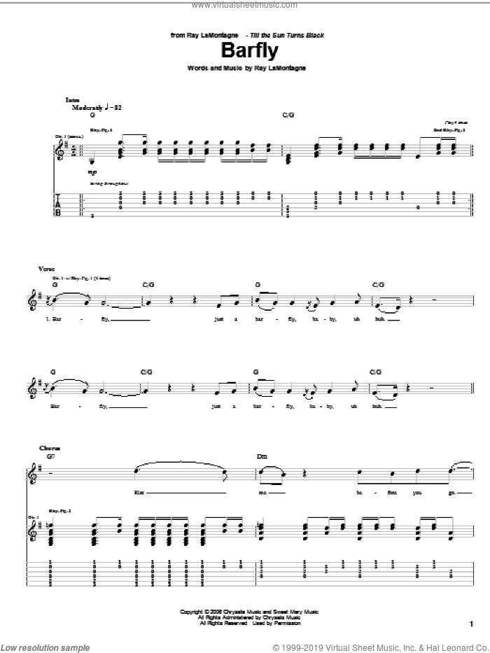 Barfly sheet music for guitar (tablature) by Ray LaMontagne, intermediate skill level