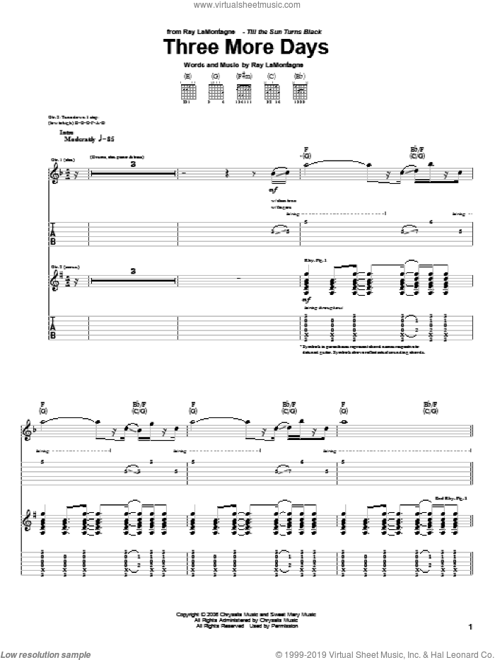 Three More Days sheet music for guitar (tablature) by Ray LaMontagne. Score Image Preview.