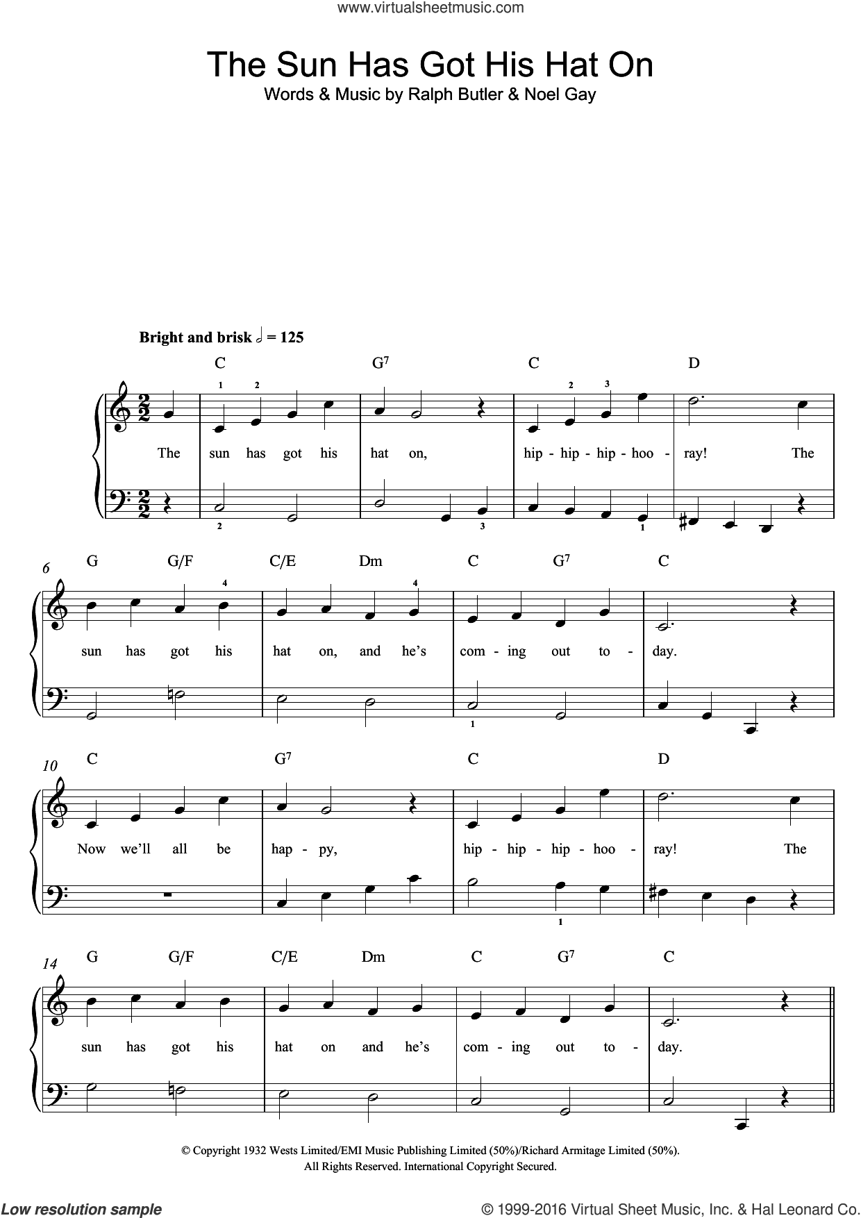 The Sun Has Got His Hat On sheet music for piano solo by Noel Gay and Ralph Butler, easy skill level