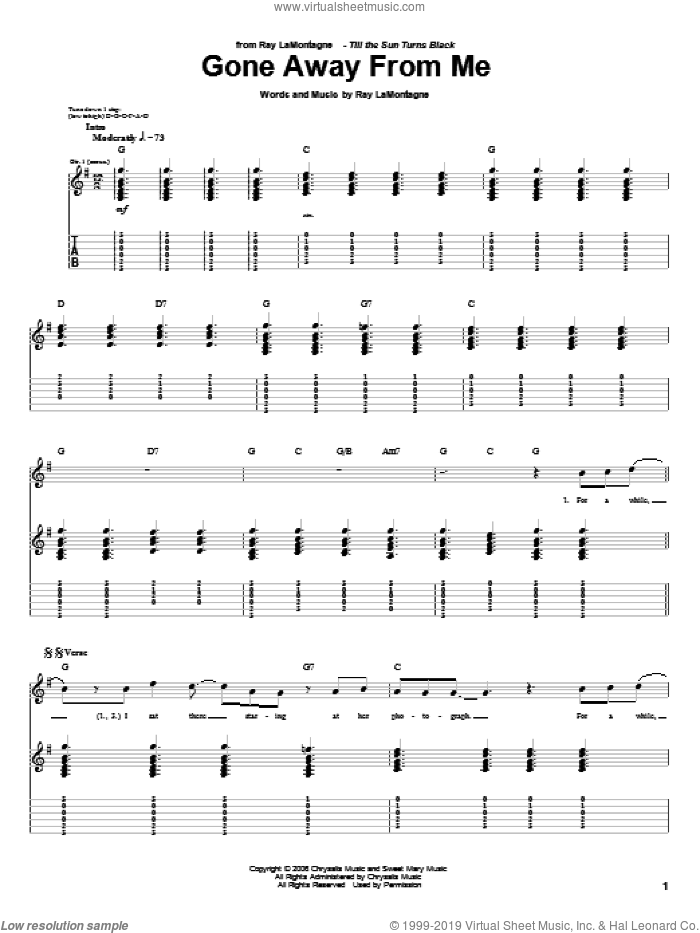 Gone Away From Me sheet music for guitar (tablature) by Ray LaMontagne, intermediate guitar (tablature). Score Image Preview.
