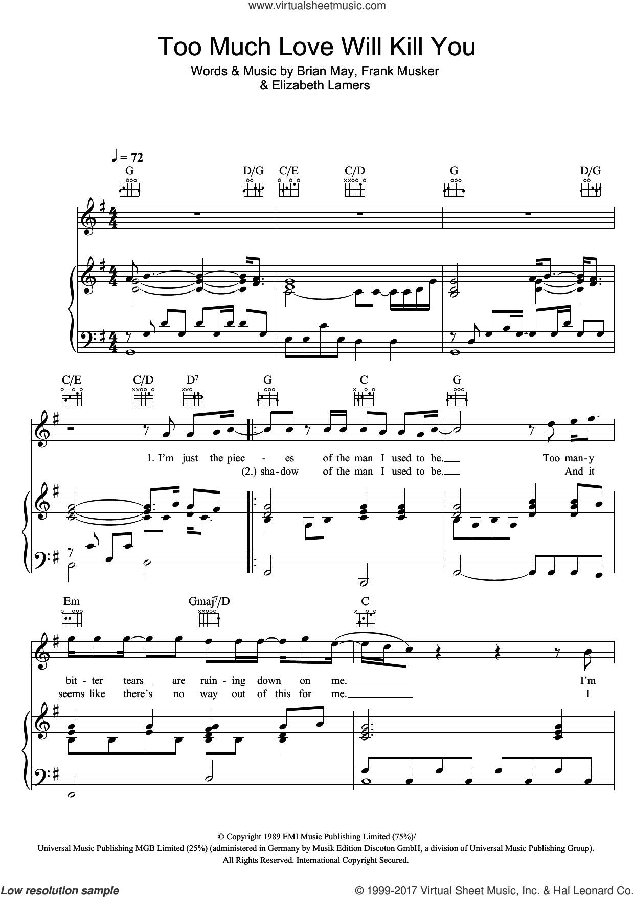 Too Much Love Will Kill You sheet music for voice, piano or guitar by Queen, intermediate. Score Image Preview.