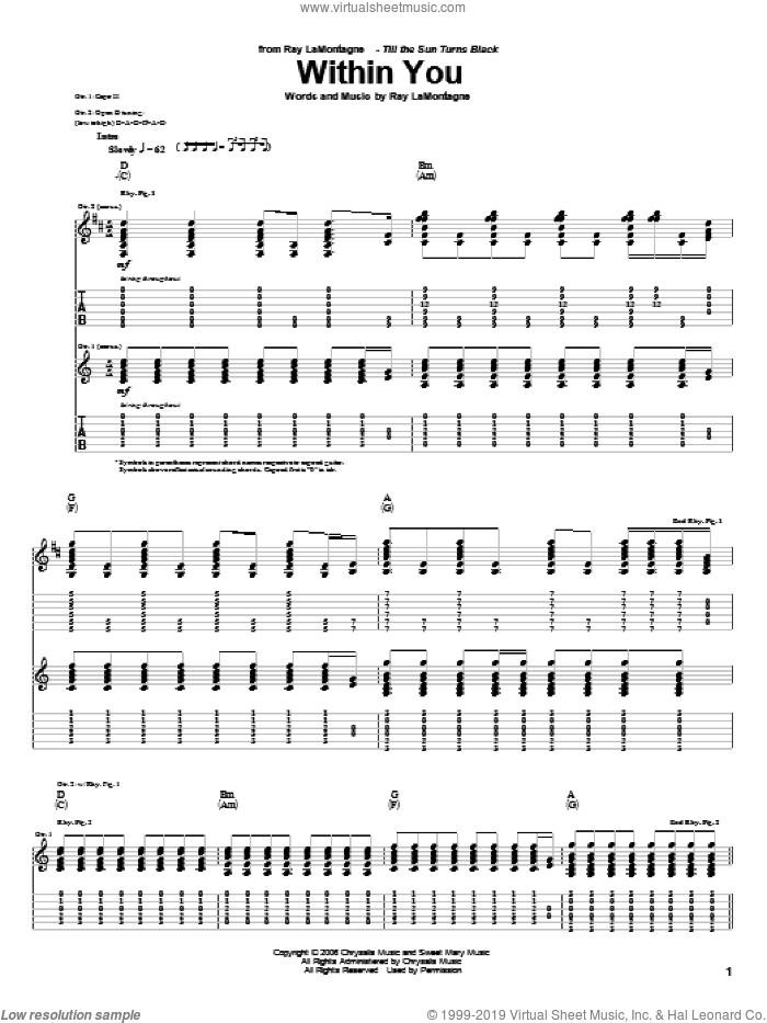 Within You sheet music for guitar (tablature) by Ray LaMontagne, intermediate skill level