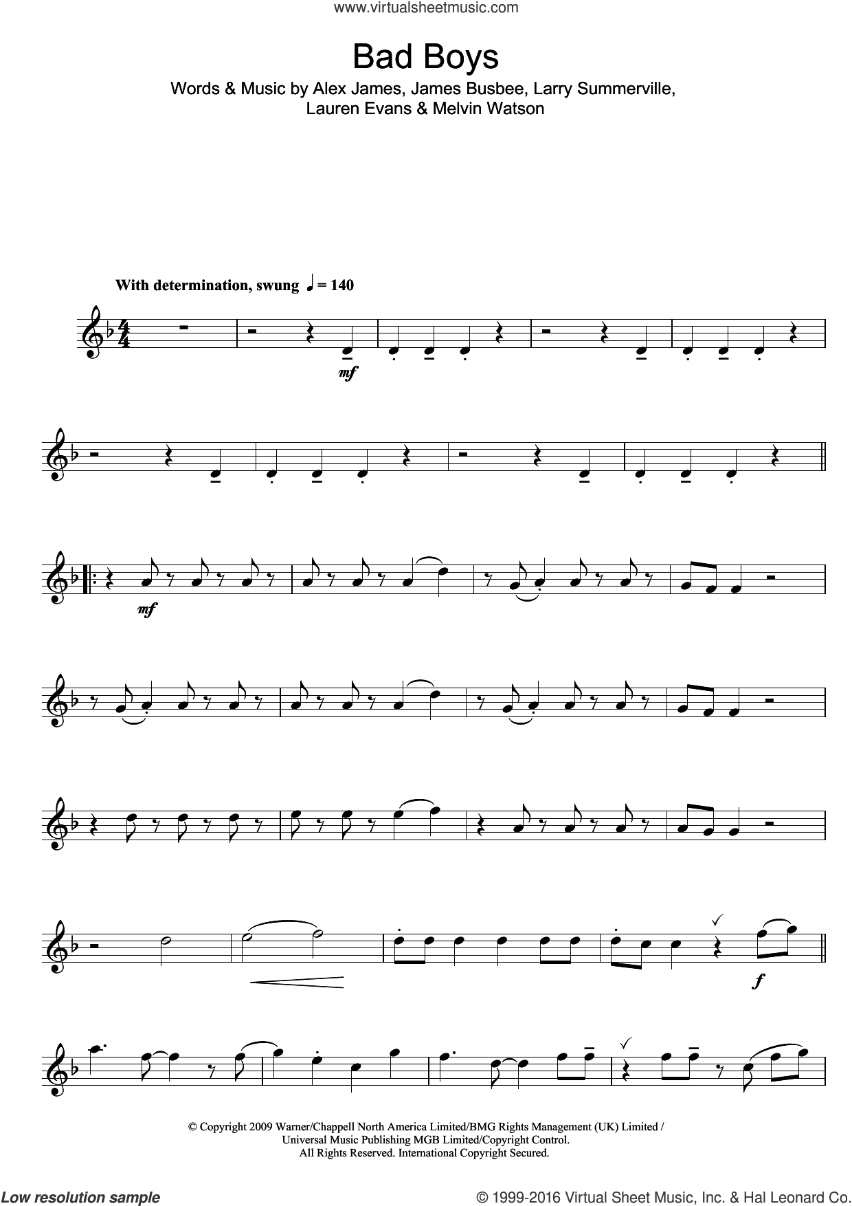 Bad Boys sheet music for alto saxophone solo by Alexandra Burke, Alex James, James Busbee, Larry Summerville, Lauren Evans and Melvin Watson, intermediate skill level