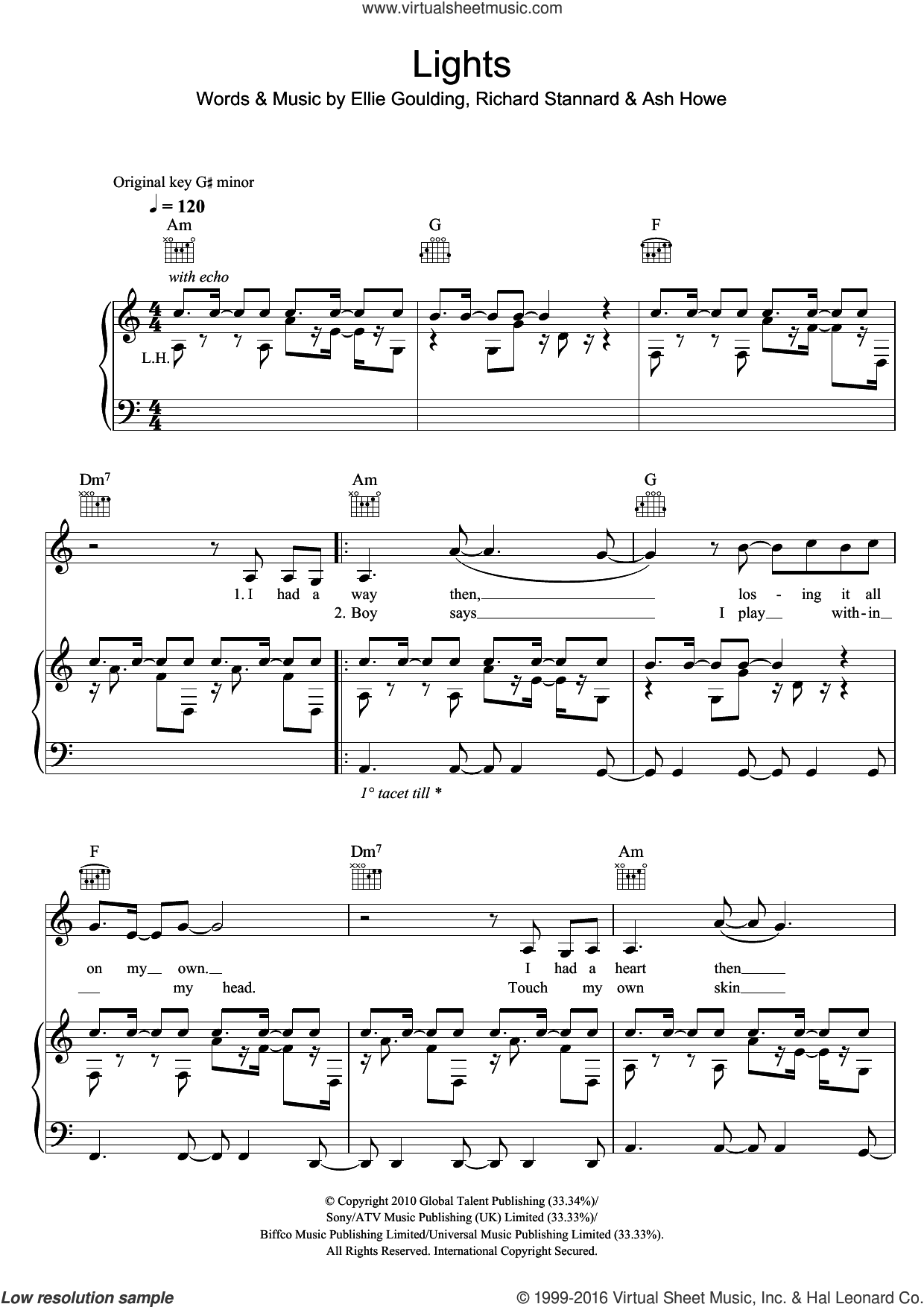 Lights sheet music for voice, piano or guitar by Ellie Goulding, Ash Howe and Richard Stannard, intermediate skill level