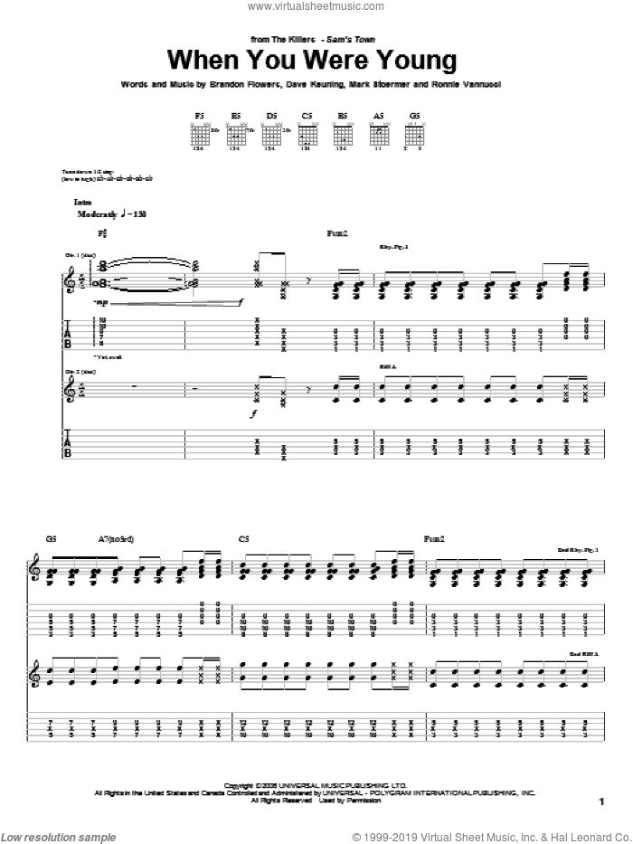 When You Were Young sheet music for guitar (tablature) by The Killers, Brandon Flowers, Dave Keuning, Mark Stoermer and Ronnie Vannucci, intermediate. Score Image Preview.