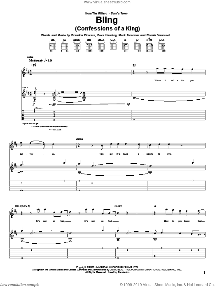 Bling (Confessions Of A King) sheet music for guitar (tablature) by The Killers and Brandon Flowers, intermediate. Score Image Preview.